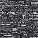 Άνευ ραφής ετικέττες υποβάθρου λέξεων καφέ ελεύθερη απεικόνιση δικαιώματος
