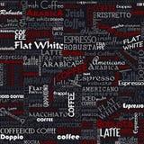 Άνευ ραφής ετικέττες υποβάθρου λέξεων καφέ διανυσματική απεικόνιση