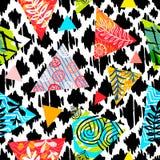 Άνευ ραφής ζωηρόχρωμο άγριο εθνικό σχέδιο κτυπήματος βουρτσών Τροπικός βγάζει φύλλα το γεωμετρικό αφηρημένο σχέδιο υποβάθρου λουλ ελεύθερη απεικόνιση δικαιώματος