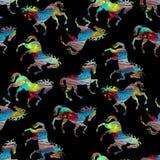 Άνευ ραφής ζωηρόχρωμο αφηρημένο σχέδιο αλόγων με το μαύρο χρώμα διανυσματική απεικόνιση