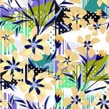 Άνευ ραφής ζωηρόχρωμο αφηρημένο floral διαμορφωμένο υπόβαθρο με τα λωρίδες και τα σημεία Πόλκα διανυσματική απεικόνιση