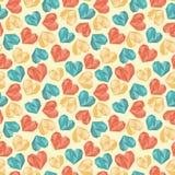 Άνευ ραφής ζωηρόχρωμο σχέδιο καρδιών πολυγώνων διανυσματική απεικόνιση