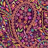 Άνευ ραφής ζωηρόχρωμο σχέδιο με τα λουλούδια paisleyand Στοκ Φωτογραφία