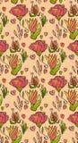 Άνευ ραφής ζωηρόχρωμο φωτεινό floral σχέδιο στο ύφος doodle με τα λουλούδια Στοκ Φωτογραφία