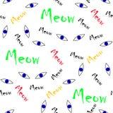 Άνευ ραφής ζωικά μάτια γατών μπλε σχεδίων διανυσματικά με τις ζωηρόχρωμες meow λέξεις Στοκ εικόνες με δικαίωμα ελεύθερης χρήσης