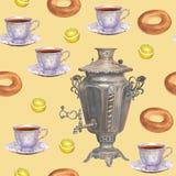 Άνευ ραφής θέμα τσαγιού σχεδίων υποβάθρου Watercolor με το ρωσικό sa απεικόνιση αποθεμάτων