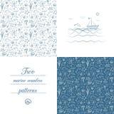 Άνευ ραφής θαλάσσια σχέδια Στοκ Εικόνες