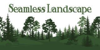 Άνευ ραφής, θερινές δασικές σκιαγραφίες Στοκ εικόνα με δικαίωμα ελεύθερης χρήσης