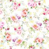 Άνευ ραφής θερινό σχέδιο με τα λουλούδια watercolor ελεύθερη απεικόνιση δικαιώματος
