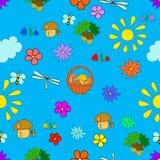 Άνευ ραφής θερινό σχέδιο παιδιών ` s με τα λουλούδια Στοκ Εικόνες