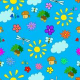 Άνευ ραφής θερινό σχέδιο παιδιών ` s με τα λουλούδια Στοκ εικόνα με δικαίωμα ελεύθερης χρήσης