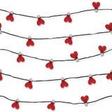 Άνευ ραφής διάνυσμα λαμπών φωτός αγάπης καρδιών ελεύθερη απεικόνιση δικαιώματος