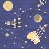 άνευ ραφής διάνυσμα προτύπων Διαστημικός πύραυλος κινούμενων σχεδίων, αστέρι, πλανήτης Στοκ Εικόνες