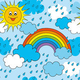άνευ ραφής διάνυσμα προτύπων Ηλιόλουστη ημέρα μετά από τη βροχή Στοκ Φωτογραφία