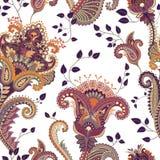 άνευ ραφής διάνυσμα προτύπων Ινδικό floral σκηνικό Paisley προκλητική γυναίκα ύφους μόδας προσώπου μαυρισμένων ματιών Σχέδιο για  Στοκ φωτογραφία με δικαίωμα ελεύθερης χρήσης