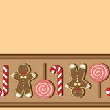 άνευ ραφής διάνυσμα προτύπων Μπισκότα Christmassy Στοκ Φωτογραφίες