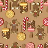 άνευ ραφής διάνυσμα προτύπων Μπισκότα Christmassy Στοκ Εικόνες