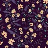 άνευ ραφής διάνυσμα προτύπων Σκοτάδι λουλουδιών Στοκ Φωτογραφίες