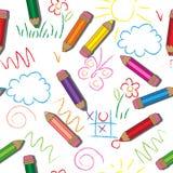 άνευ ραφής διάνυσμα προτύπων Χαριτωμένα σχέδια και μολύβια σε ένα άσπρο υπόβαθρο Στοκ Εικόνα