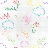 άνευ ραφής διάνυσμα προτύπων Χαριτωμένα σχέδια doodle σε ένα άσπρο υπόβαθρο Στοκ Εικόνα