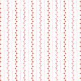 άνευ ραφής διάνυσμα προτύπ&omeg Κόκκινοι ρόδινοι κάθετοι γραμμές και κλαδίσκοι στο άσπρο υπόβαθρο συρμένος εικονογράφος απεικόνισ Στοκ Εικόνες