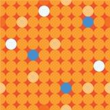 Άνευ ραφής διακοσμητικό υπόβαθρο με τους κύκλους, τα κουμπιά και τα σημεία Πόλκα Στοκ Φωτογραφία