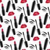 Άνευ ραφής διανυσματική απεικόνιση σχεδίων makeup Στοκ φωτογραφία με δικαίωμα ελεύθερης χρήσης
