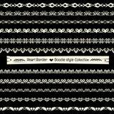Άνευ ραφής διανυσματική συλλογή συνόρων καρδιών στο μονοχρωματικό υπόβαθρο απεικόνιση αποθεμάτων