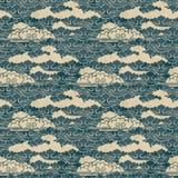 Άνευ ραφής διανυσματικό συρμένο χέρι παραδοσιακό ιαπωνικό σχέδιο σύννεφων Στοκ Φωτογραφία