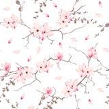 Άνευ ραφής διανυσματικό σχέδιο δέντρων ανθών Magnolia Στοκ Εικόνες