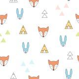 Άνευ ραφής διανυσματικό σχέδιο αλεπούδων και λαγών στο μινιμαλιστικό ύφος Στοκ Εικόνες