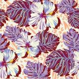 Άνευ ραφής διανυσματικό σχέδιο για τα άτομα, λουλούδια aloha στα χαμηλωμένα χρώματα Στοκ φωτογραφία με δικαίωμα ελεύθερης χρήσης