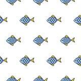 Άνευ ραφής διανυσματικό σχέδιο εικονιδίων γραμμών ψαριών Στοκ Εικόνα