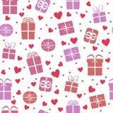 Άνευ ραφής διανυσματικό σχέδιο, κιβώτια δώρων με τις καρδιές Στοκ εικόνα με δικαίωμα ελεύθερης χρήσης