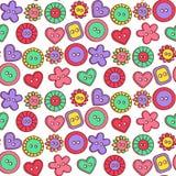 Άνευ ραφής διανυσματικό σχέδιο κουμπιών Doodle χαριτωμένο Στοκ Φωτογραφία
