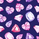 Άνευ ραφής διανυσματικό σχέδιο κρυστάλλων διαμαντιών ναυτικού διανυσματική απεικόνιση