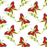 Άνευ ραφής διανυσματικό σχέδιο με τα έντομα, ζωηρόχρωμο υπόβαθρο με τις κόκκινες πεταλούδες και κλάδοι με τα φύλλα OM το άσπρο σκ Στοκ Εικόνες