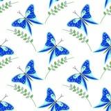 Άνευ ραφής διανυσματικό σχέδιο με τα έντομα, ζωηρόχρωμο υπόβαθρο με τις μπλε πεταλούδες και κλάδοι με τα φύλλα OM το άσπρο σκηνικ Στοκ εικόνες με δικαίωμα ελεύθερης χρήσης