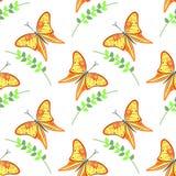 Άνευ ραφής διανυσματικό σχέδιο με τα έντομα, ζωηρόχρωμο υπόβαθρο με τις ιώδεις πεταλούδες και κλάδοι με τα φύλλα OM το άσπρο σκην Στοκ Εικόνες