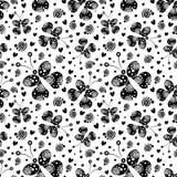 Άνευ ραφής διανυσματικό σχέδιο με τα έντομα, υπόβαθρο με τις μαύρες διακοσμητικές διακοσμητικές όμορφες πεταλούδες στο άσπρο σκην Στοκ Εικόνες