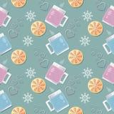 Άνευ ραφής διανυσματικό σχέδιο με τα φλυτζάνια στις πλεκτές καλύψεις, που γεμίζουν με ένα ζεστό ποτό, τις σφήνες λεμονιών και τη  Στοκ εικόνες με δικαίωμα ελεύθερης χρήσης