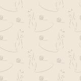 Άνευ ραφής διανυσματικό σχέδιο με τη γάτα και το κουβάρι Στοκ εικόνες με δικαίωμα ελεύθερης χρήσης