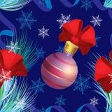 Άνευ ραφής διανυσματικό σχέδιο με τη σφαίρα Χριστουγέννων και τα κόκκινα τόξα Στοκ φωτογραφία με δικαίωμα ελεύθερης χρήσης