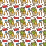 Άνευ ραφής διανυσματικό σχέδιο με τις βούρτσες χρωμάτων και κυλίνδρων, δοχεία κασσίτερου διανυσματική απεικόνιση