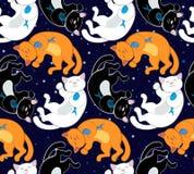 Άνευ ραφής διανυσματικό σχέδιο με τις μαύρες, άσπρες και κόκκινες γάτες Στοκ Εικόνες