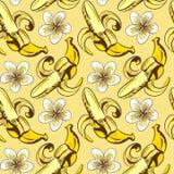 Άνευ ραφής διανυσματικό σχέδιο με τις μπανάνες Στοκ Εικόνες