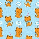 Άνευ ραφής διανυσματικό σχέδιο με τις χαριτωμένες γάτες Στοκ φωτογραφία με δικαίωμα ελεύθερης χρήσης