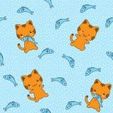 Άνευ ραφής διανυσματικό σχέδιο με τις χαριτωμένες γάτες Στοκ εικόνες με δικαίωμα ελεύθερης χρήσης