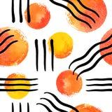 Άνευ ραφής διανυσματικό σχέδιο με τους κύκλους και τις γραμμές watercolor Στοκ Εικόνες