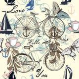 Άνευ ραφής διανυσματικό σχέδιο με το ποδήλατο και τις πεταλούδες Στοκ Φωτογραφίες